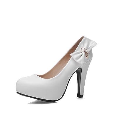 AdeeSu Plateforme Femme Blanc, 37.5 EU, SDC03668