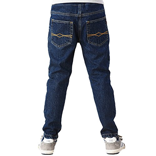 Leo&Lily Big Boys' Kids' Husky Rib Waist Stretch Denim Navy Jeans Pants (8)