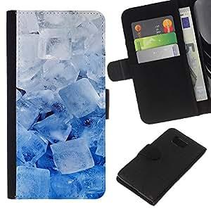 - WINTER SNOW ICE COOL WHITE BLUE CRYSTALS - - Prima caja de la PU billetera de cuero con ranuras para tarjetas, efectivo desmontable correa para l Funny House FOR Samsung ALPHA G850