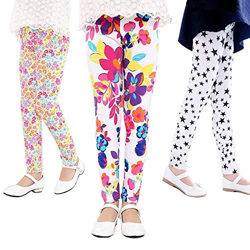 Grils Toddler Leggings Kids Stretchy Pants 3 Pack Printing Flower Classic Leggings 2-13Y (Style 1, 12-13T) ()