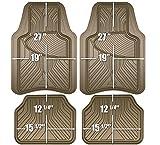 Armor All 78848 Tan Rubber Interior Floor Mat, 4 Piece