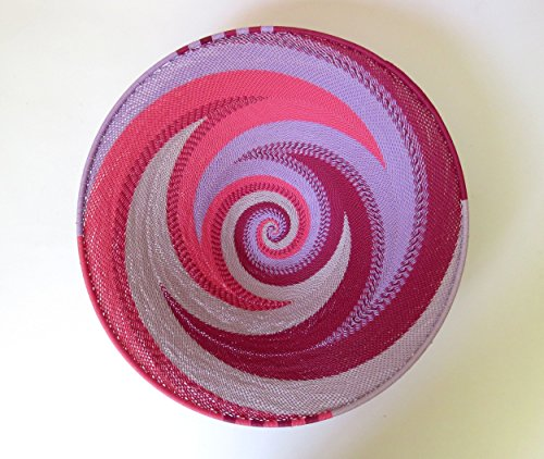 (African Zulu woven telephone wire bowl - Large shallow bowl - Pink - Gift from Africa)