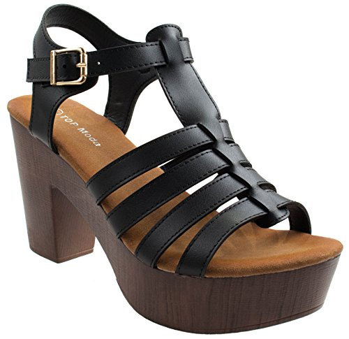 Women's Cedar-1 Top Moda Black Gladiator Open Toe Block Heel Ankle Strap Sandal Platform Pumps 6 D(M) ()