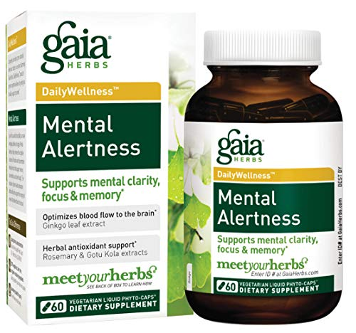 Gaia Herbs Mental Alertness Vegan Liquid Capsules, 60 Count - Memory and Focus Supplement, Enhance Mental Performance, Boost Brain Blood Flow