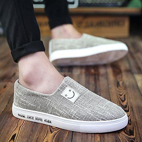 tela scarpe scarpe basse sera coreano scarpe tendenza YaNanHome di Estate Gray Size uomo stile pigri Scarpe Espadrillas da casual Black da Color 40 moda scarpe traspirante wq5Z8Yq