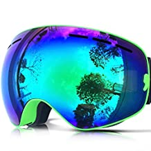 IceHacker Lagopus Snowmobile Snowboard Ski Goggles with Detachable Lens and Wide Spherical Double Lenses Anti-fog Oversize Snow Goggles for Unisex