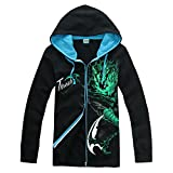 XCOSER Fashion LOL Hoodie Winter 2015 Zipper Sweatshirts Glowing Men's ClothingCharacter: Yasuo, ThreshSize: M, L, XL, XXL, XXXLIncluding: A HoodieMaterial: Cotton polyester------------------This LOL cosplay hoodie is made of 95% cotton and 5% spande...