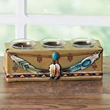 Colors of Rainbow Southwest Feather 3 Candle Holder