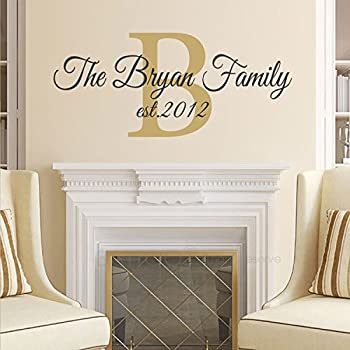 Amazoncom Family Name Wall Decal Custom Monogram Est Year - Family monogram wall decals