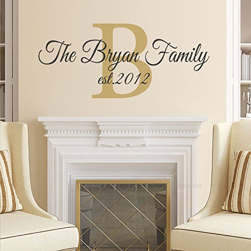 BATTOO Family Name Wall Decal - Family Monogram Wall Decal - Family Established Date Vinyl Wall Decal - Family Decor Custom Family Wall Decal