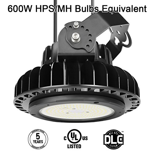 150W UFO LED High Bay Lighting Luxeon SMD 3030 LED MeanWell Driver with Mount Bracket Ultra Efficient 130 Lumens to Watts White Light DLC Certified 5000K Waterproof Well Don