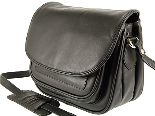 Black Leather Shoulder 2195 Handbag Body Bag Ladies Soft Across Visconti Organiser CfxvcZSw4q