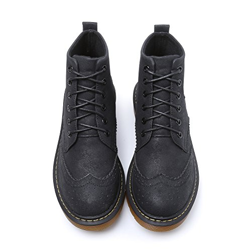 Smilun Ankle Round High Shoes Top Eye 6 Black Boot Classic Brogues Lady's Toe OAqOS