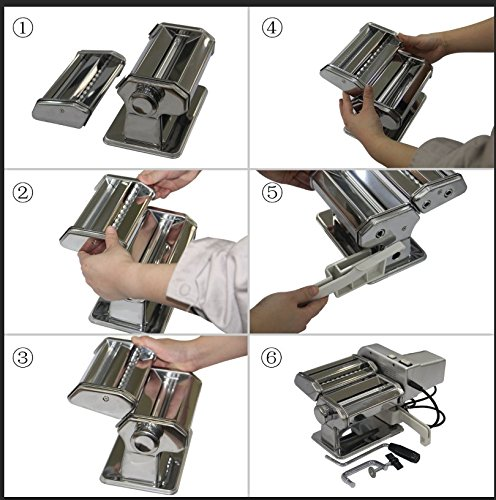 Yunko Electric Pasta Maker Machine with Motor Set Stainless Steel Pasta Roller Machine For Homemade Lasagne Fettuccine Tagliolini Dismountable Cutter Silver by YunKo (Image #4)