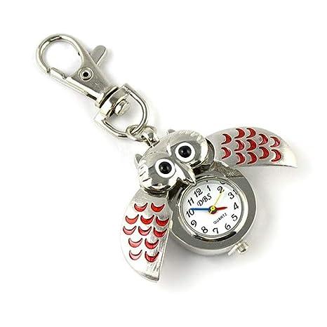 Kangges Llavero para Forma de Reloj de búho a Mano Llavero para Coche pequeño Decoración del Coche/Puerta/Teléfono/Bolsa (Rojo)