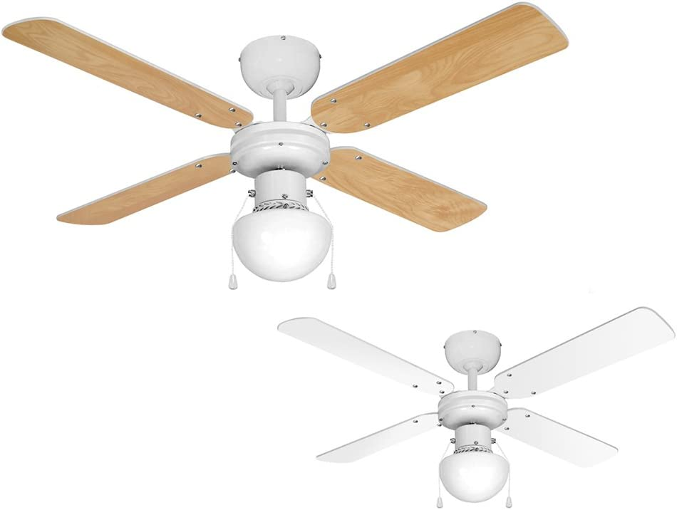 "MiniSun White 42"" Modern Ceiling Fan with Light & Beech/White Reversible Blades"