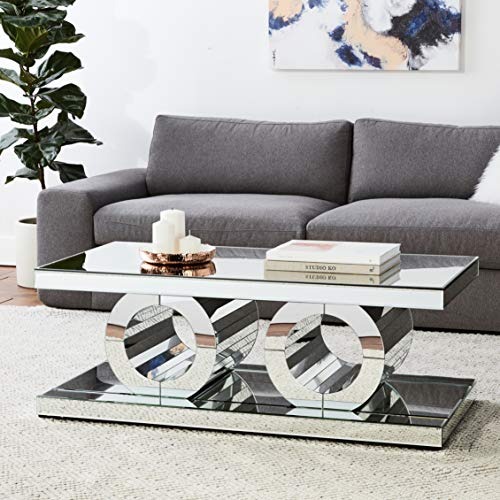 """Meridian Furniture Jocelyn Collection Modern   Contemporary Mirrored Coffee Table Featuring a Bold Geometric Design, 48"""" W x 24"""" D x 18"""" H"""