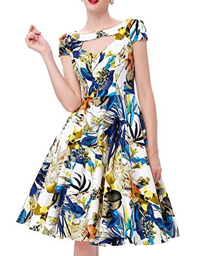 Combed Cotton Cocktail Women Belle Sleeve 1 Vintage Hollowed Bp08 Short Poque® Swing Dresses PH6nqwxa1C