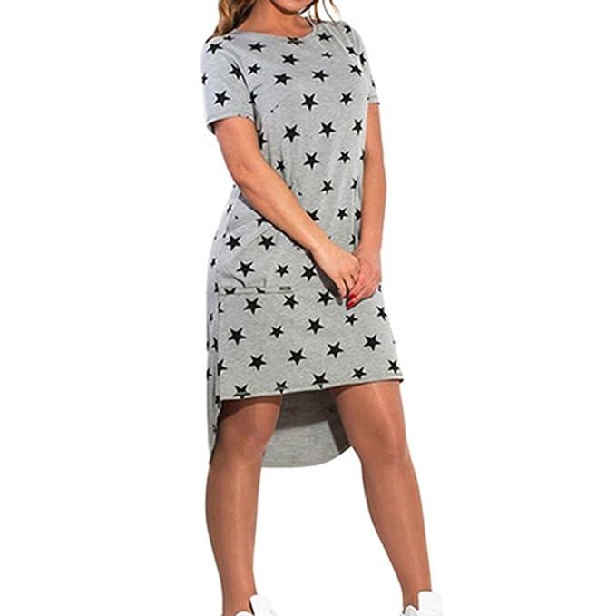 Damen Ubergröße Kleid - Mode Pentagrammdruck Lange Bluse Kurze Ärmel ...