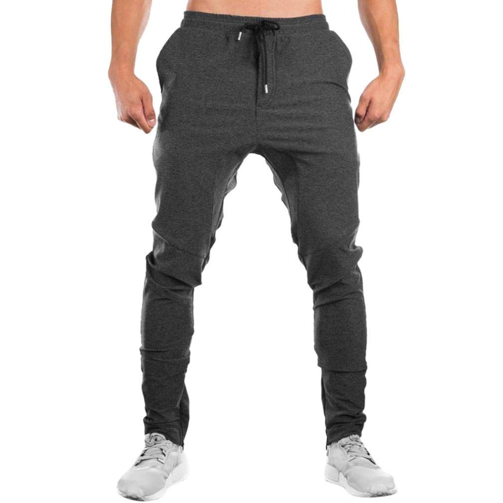 iLXHD Men Sweatpants Autumn Slacks Casual Elastic Sportwear Baggy Jogging Trousers Sport pants(Gray ,XL)