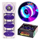Sunset Skateboard Co. 59mm 78a LED Light-Up Cruiser Wheels (4-Pack) with ABEC-9 Carbon Steel Bearings for Glow-in-The-Dark, All Ages & Skill Levels Skating Fun with No Batteries Required (Blacklight)