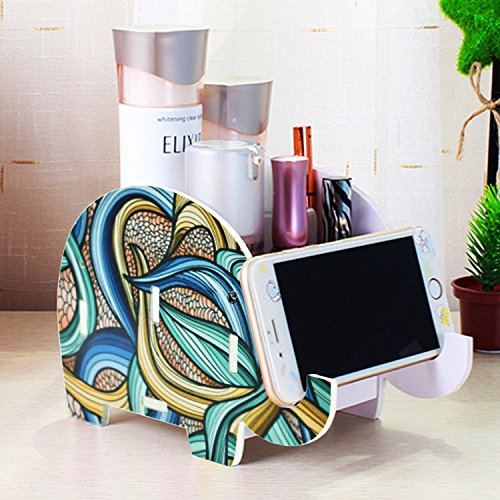 Mokani Desk Supplies Organizer, Creative Elephant Pencil Holder Multifunctional Office Accessories Desk Decoration with Cell Phone Stand Tablet Desk Bracket for iPad iPhone Smartphone and ()