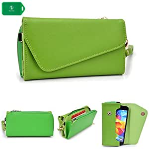 CROSS BODY WRISTLET/WALLET SMARTPHONE HOLDER| LIME GREEN | UNIVERSAL FIT FOR Samsung M210S Wave 2