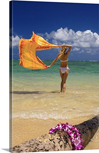 Tomas Del Amo Gallery-Wrapped Canvas entitled Hawaii, Oahu, Punaluu Beach, Young Woman Standing In Ocean Holding Pareo