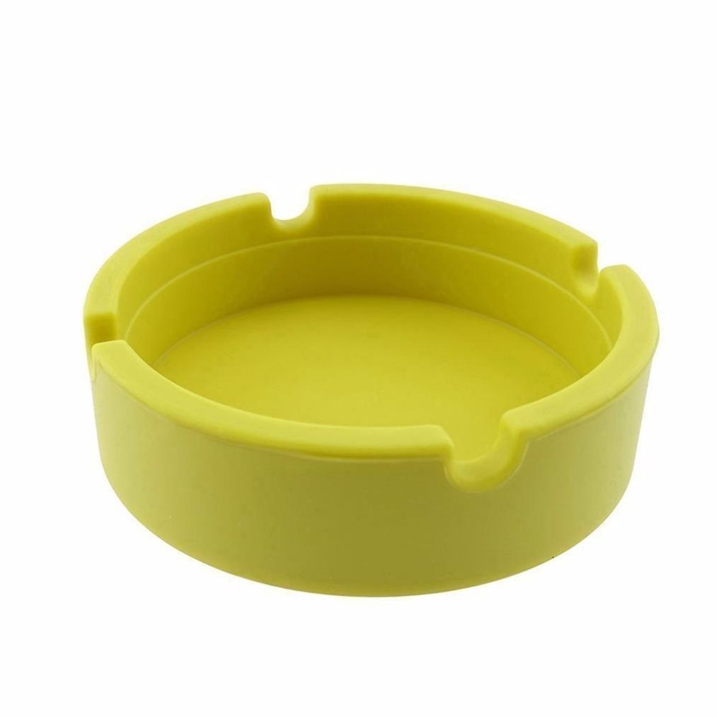FAMILIZO Cenicero redondo de silicona Cenicero redondo de alta temperatura resistente al calor del diseño del cenicero de silicona (Amarillo)