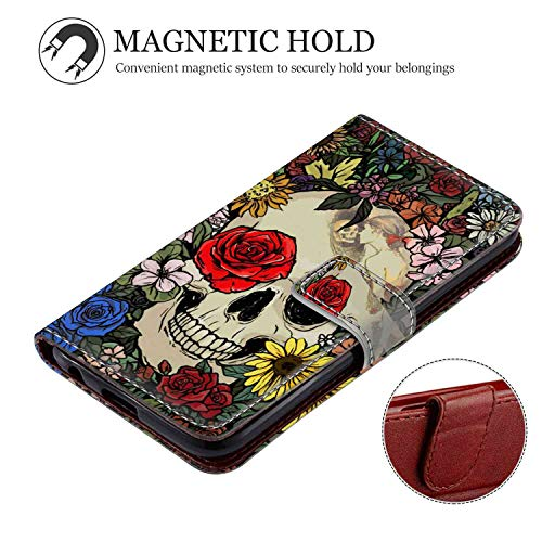 Phone Wallet Case Compatible with Apple iPhone Xr (2018) (6.1inch) Skull in Flowers Sunflower Series