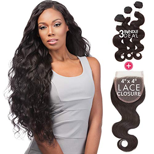 (Sensationnel Virgin Remy Human Hair Weave Bare&Natural Body Wave 3pcs with 4