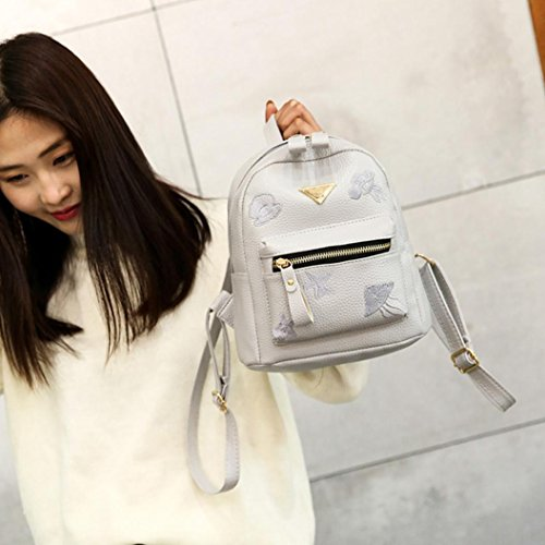 Zipper Bag Fashion Bag Backpack Preppy Style Gray Solid Bag School Shoulder Women Girl Small Leather aqz1xar