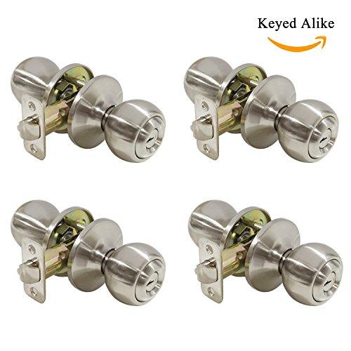 Ball Entry Knob Security Exterior Door Lockset in Satin Nickel,Keyed Alike, 4 Pack ()