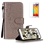 Funyye Folio Wallet Case for Samsung Galaxy S6 Edge,Elegant Gray Dandelion Embossed Pattern Strap Magnetic Flip Soft Silicone PU Leather Case for Samsung Galaxy S6 Edge,Stand Function with Credit Card Holder Slots Case + 1 x Free Screen Protector