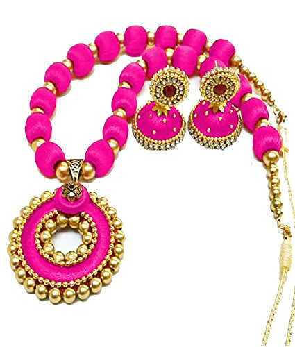 GOELX Popular Pink Pendant Silk Thread Necklace Set Indian Style Designer Jhumki Earrings Set ()