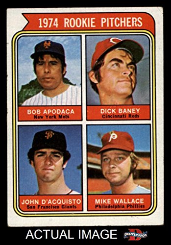 1974 Topps # 608 COR Rookie Pitchers Bob Apodaca / Dick Baney / John D'Acquisto / Mike Wallace Mets / Reds / Giants / Phillies (Baseball Card) (Apodaca Spelled Correctly) Dean's Cards 3 - VG