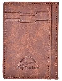 Hopsooken Slim Wallet RFID Minimalist Wallet Front Pocket Wallet Genuine Leather (Brown (Vintage Look Leather))