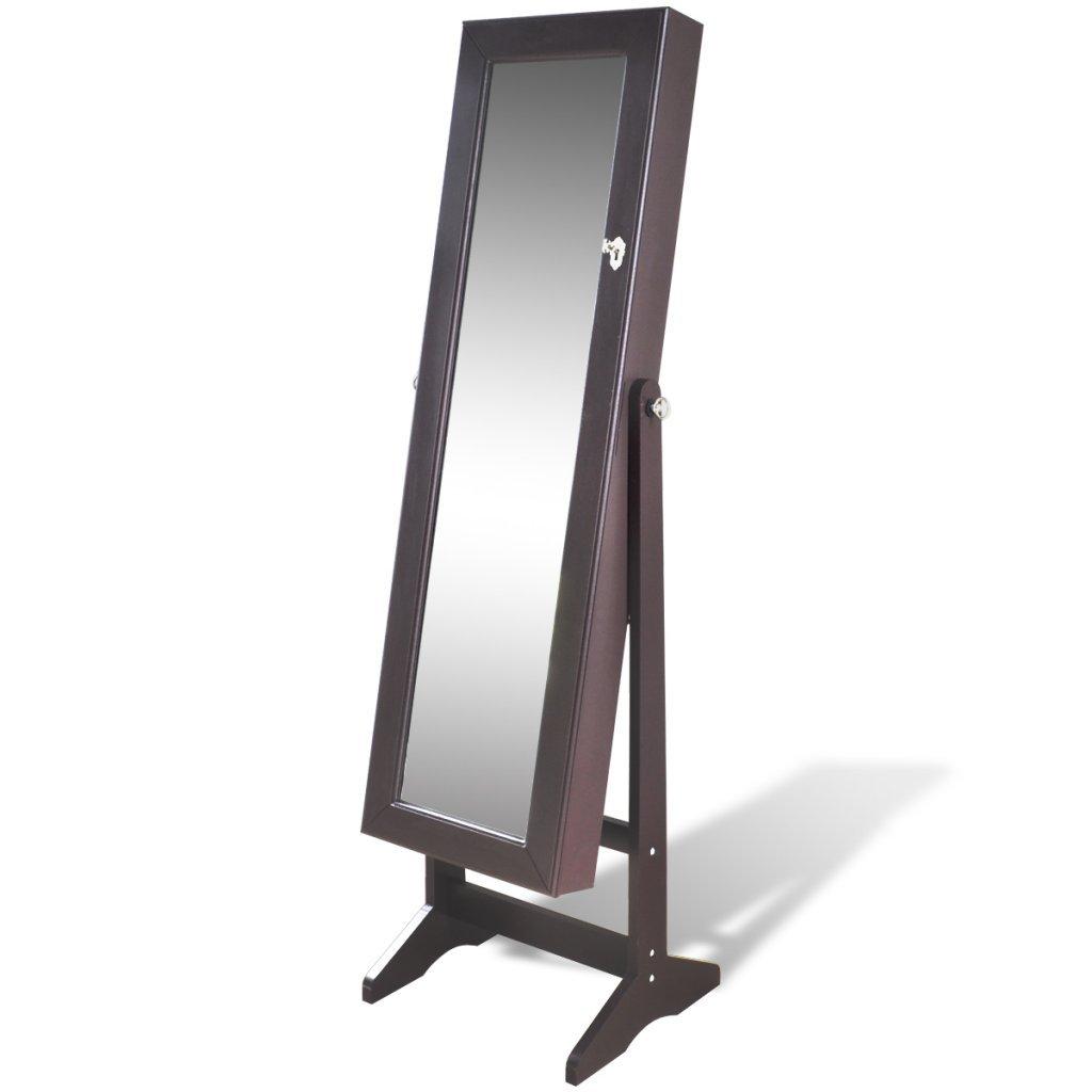 Festnight Armadietti Specchio Marrone per Gioielli con Luce LED e Anta con Specchio