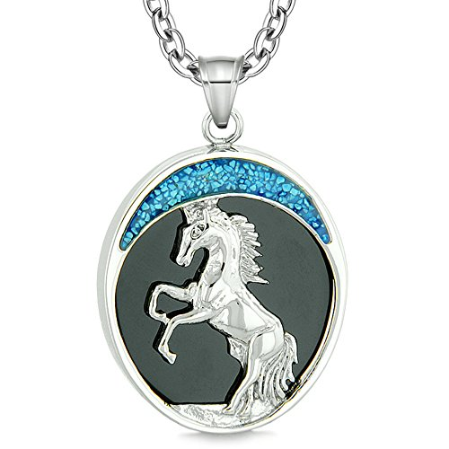 Courage Horse Wild Moon Mustang Protection Powers Amulet Simulated Black Onyx Pendant 18 Inch (Onyx Horse)
