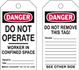 Brady  50291 5 3/4'' Height x 3'' Width, Heavy Duty Polyester (B-837), Black/Red on White Confined Space Tags (25 Tags)