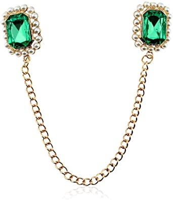 GJongie Broche Broches para Mujer Broches Moda Verde Cristal Rhinestone Broche Joyería Borla Cadena Camisa Blusa Cuello Aguja Solapa Alfileres Hombres Mujeres Accesorios: Amazon.es: Joyería