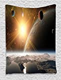 Ambesonne View of Planet Decor Tapestry, Moons and the Universe from the Earth Surface Picture, Wall Hanging for Bedroom Living Girls Boys Room Dorm, Yellow Ivory White