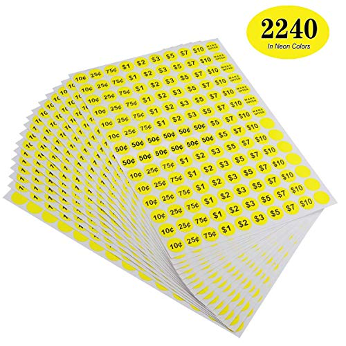 1000 Pcs Yard Garage Sale Price Stickers Prepriced Labels Self Adhesive Tags New