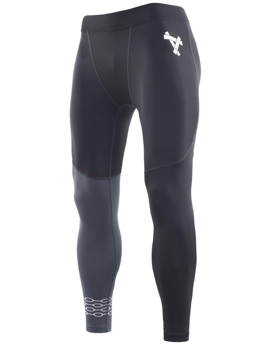 Lavento Men's Compression Pants Baselayer Cool Dry Running Ankle Leggings Active Tights (1 Pack-3909 Black/Gray,X-Large) by Lavento