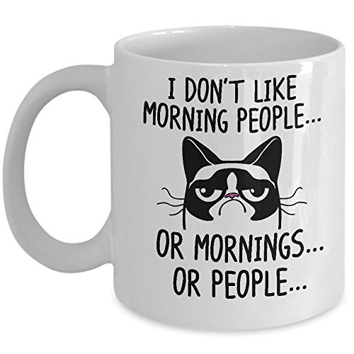 Funny Grumpy Cat Mug - I Don't Like Morning People... Or Mornings... Or People Coffee & Teacup - 11oz Ceramic Internet Meme Cup - Great Unique Gift Idea For Parents, Siblings, Friends, Him or Her from LittleCreations