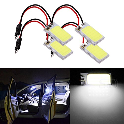 Tailight Panel (ToAUTO 4-Pack Car Interior Bulbs 18 LED COB Super Bright Dome Lights Reading Door Light Panel Lights With T10 BA9S C5W Adapter 3W White)