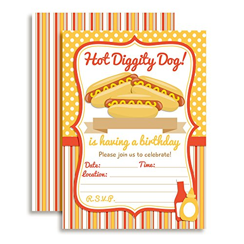 Hot Dog BBQ Party Fill in Invitations Set of 20 5 X 7 Cards with White Envelopes. Perfect for Grilling Parties, Graduation, Family reunions, and More by AmandaCreation -