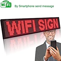 Leadleds P5 Wi-fi Scrolling LED Sign Message Board for Business, Working with Smartphone and Tablet (Red)
