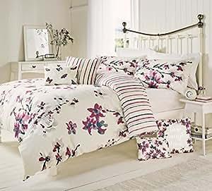 Color rojo crema Floral rayas King Size mezcla de algodón edredón colcha cubierta