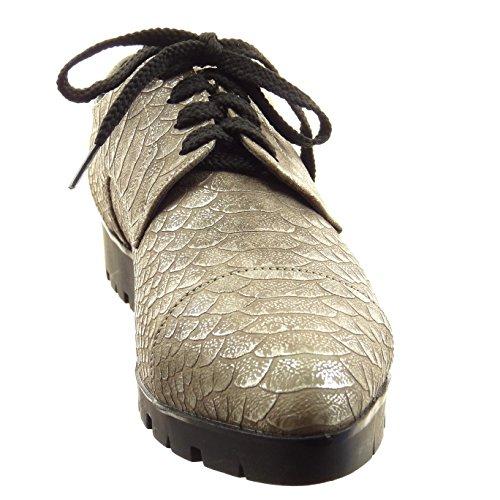 Sopily - Scarpe Da Donna Moda Scarpe Derby-scarpe In Pelle Di Serpente - Kaki